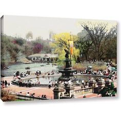 Linda Parker Bethesda Fountain Gallery-Wrapped Canvas, Size: 36 x 48, Silver