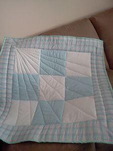 Starburst quilt design Blue & white baby quilt