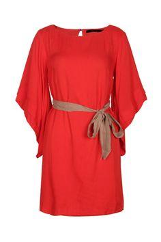 Retro Drape Red Dress