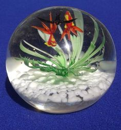 MURANO GLASS PAPERWEIGHT WITH 2 GOLDFISH AND A BLACKBIRD