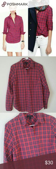 """J Crew red tartan popover shirt J. Crew """"Red tartan popover shirt"""". Lightweight buttondown popover with pockets. Red, blue, yellow and white.   Excellent condition   100% cotton   Size 2. Underarm to underarm 19"""" length 26"""" J. Crew Tops"""