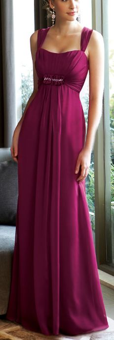 Discount Long elegant two wide straps empire waist simple design bridesmaid dress Online