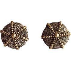 Sea Urchin Earrings Sterling Gold from antiquesofriveroaks on Ruby Lane