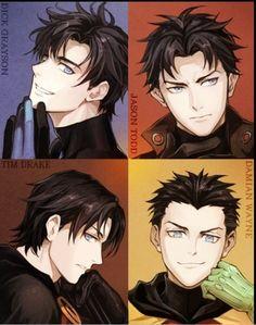 Robins: dick Grayson, Tim drake, Jason Todd, Damian Wayne
