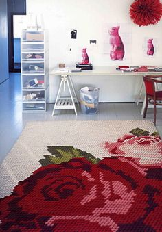 Needlepoint rug as seen in Ilse Crawford's Home is Where the Heart Is