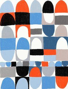 Ophelia pang, illustratrice. Geometria e colore che si rincorrono, sul piano, a formare pattern perfetti per tessuti inediti da complemento d'arredo