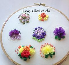 Silk Ribbon Embroidery, Hand Embroidery Designs, Floral Embroidery, Embroidery Stitches, Mobiles, Ribbon Art, Creative Artwork, Cute Gifts, Needlework