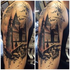 Fresh last session on this trash polka castle Dracula piece. Mostly healed here minus the left towers #tattoo #ottawa #customart #customtattoo #dracula #castledracula #vampire #raven #trashpolka