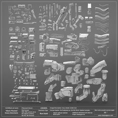 """This 3D KitBash Library consists of ALL 9 """"Black Phoenix"""" KitBash Sets combined in-to one ultimate kit!! SETS INCLUDED: Heavy Joints and Actuators Hydraulics and Smaller Joints Surface Details Pack Active Armor Set Heavy Structural Parts Cables and Tubes Pack Mech. Attachment Pack #1 and Mech. Attachment Pack #2 Lighter Structural Pieces Geometry Info: 220495 Faces; Non-Subd based polygonal models; NO UVs, NO TEXTURES File Format Info: Delivered in OBJ and FBX with pivots ..."""