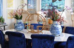 Blue and white planters and gold decor at Mecox Palm Beach #interiordesign #home #decor #design