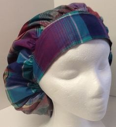 d46f97dcdb Plaid Print Medical Bouffant OR Scrub Cap Surgical Surgery Hat  Handmade  Scrub Caps
