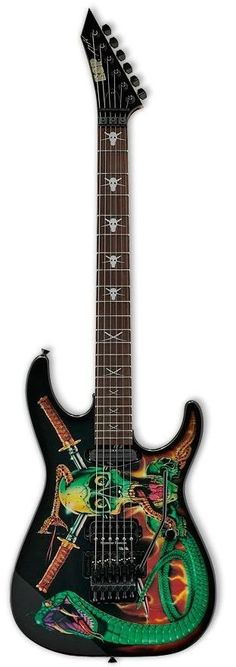 """George Lynch's ESP """"Skull & Snakes"""" Exclusive Model, Used MOSTLY In Lynch Mob; And Used For The Cover Of """"Wicked Sensation"""", In A Guitar World Interview; He Said He Nick - Named The Guitar: """"HajI""""!!!.... ;)"""