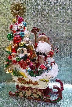 Similar Styles Coming Soon! Custom Orders Welcome! Traditional Santa Sleigh Shiny Brite Ornaments Bottle Brush Tree Vintage Angel Wreath