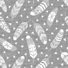Feathers - Texture Gray White fabric by kimsa on Spoonflower - custom fabric