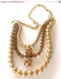 ON SALE Vintage Givenchy Pearl Necklace Rare by CrimsonVintique, $250.75
