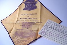 Handkerchief  wedding invitation suite with typewriter, set of 25. $243.75, via Etsy.