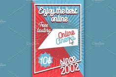 Color vintage online cinema banner by Netkoff on @creativemarket