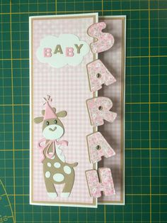 Make off edge card with name!!! T T Girraffe wolf bear panda fox with name in big letters
