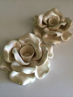 Lotus Flower Ceramic Candle Holders Lusterware