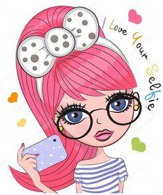 Cute Cartoon Girl vector image on VectorStock Cartoon Monkey, Cute Cartoon Girl, Cartoon Chicken, Shirt Print Design, Digital Art Girl, Cute Owl, Cute Cartoon Wallpapers, Cute Illustration, Big Eyes
