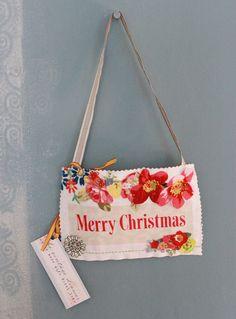 Pretty Linen Christmas Home Sign 'Merry Christmas' | Vicky Trainor