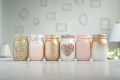 Glitter Paint Mason Jars, Pint Mason Jars, Glitter Mason Jars, Mason Jar Crafts, Mason Jar Diy, Gold Wedding Decorations, Glitter Decorations, Wedding Centerpieces, Painting Canning Jars