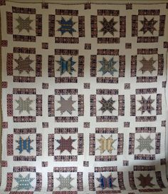"""Antique Feathered Star Quilt . New England c. 1850 or earlier. 78"""" x 98"""", Cow Hollow Collectibles, Ruby Lane"""
