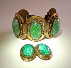 Victorian Solid Brass Bracelet Earrings Set by RenaissanceFair