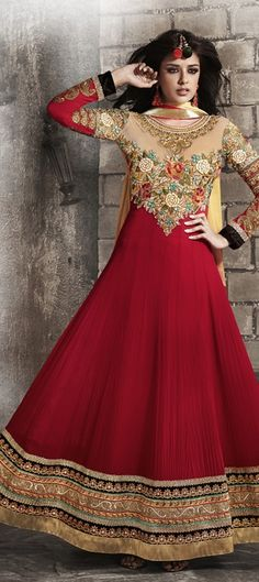 410645, Anarkali Suits, Georgette, Stone, Border, Machine Embroidery, Red and Maroon Color Family