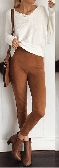30 Pre Fall And Popular Outfits Of Mura Boutique Australian Label White Knit Sweater + Camel Suede Pants Fall Outfits, Casual Outfits, Cute Outfits, Fashion Outfits, Casual Clothes, Work Outfits, Suede Pants, Suede Leggings, Leather Pants