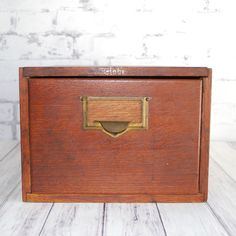 I'm obsessed with these oak card catalogs!