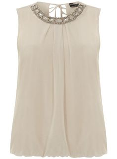 Stone square embellished top