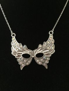 Masquerade mask necklace pandant with by JewelryDesignbyD on Etsy