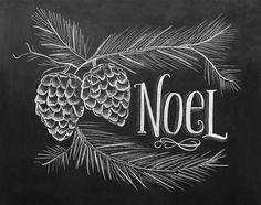 Noel Card Christmas Chalkboard Art Pine Cone par LilyandVal