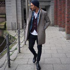Layered Winter Style <3; blue jeans jacket, black waistcoat, white shirt and grey coat
