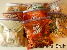 Slow Cooker Freezer Meals: Makes 8 Meals in 1 Hour! | Six Sisters' Stuff These recipes look SO good!