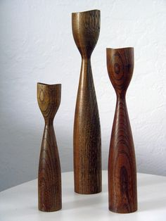 Vintage Danish modern candle holder trio.