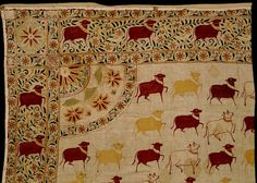 Part of a hanging for a shrine (pichhwai) of white cotton, embroidered with a design of cows in three colours: crimson, yellow and cream. Late 19th century from Kutchh. V Collection.