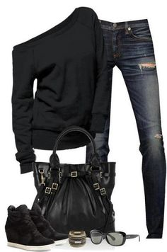 Stylish Black Sweater, Jeans, Black Handbag with Accessories, Glasses and Shoes for Ladies