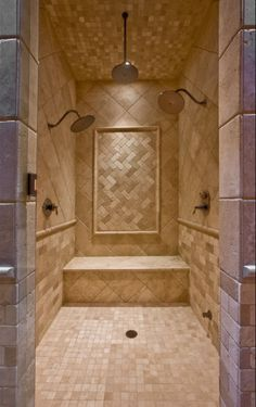 House Plan 132 207 bathroom with a big shower  Houseplans Fantastic Showers Border tiles Color tile and Houzz