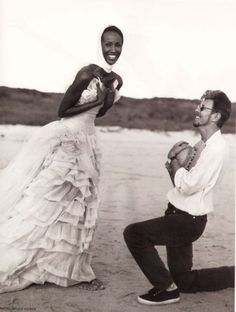 Iman and David Bowie by Bruce Weber, 1995