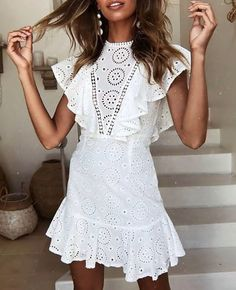 Sexy Lace Openwork Embroidered Lace Stitching Sleeveless Ruffled Dress – ebuytide Casual Dresses for women casual dresses for summer casual dresses modest casual dresses boho casual dresses for work Sexy Dresses, Girls Dresses, Short Sleeve Dresses, Mini Dresses, Elegant Dresses, Long Sleeve, Lace Dresses, Unique Dresses, Floral Dresses