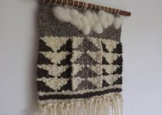Woven on a traditional frame loom using mill spun & hand spun yarns, natural & mill dyed, & natural sheep roving. Hung from a hardwood & resin dowel.