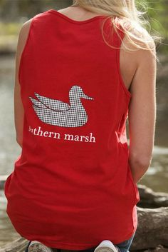 Southern Marsh's popular tank in crimson, featuring the Southern Marsh mallard silhouette logo in houndstooth on the back and the Authentic logo on the front. This 100% ultra soft spun cotton tank is