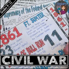 Looking for a fun way to review the Civil War? These doodle notes cover the causes of the Civil War, major events between 1861-1865, and the effects of the Civil War. They work great for an end of unit review or mid-term or final exam review and are a perfect background if your course picks up with American history from 1877.