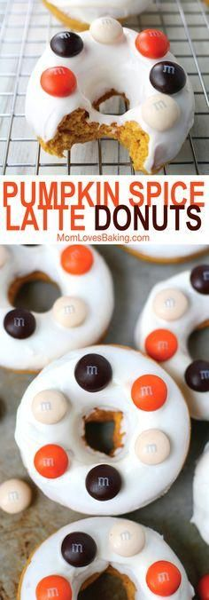 An easy, baked donut made with Pillsbury Pumpkin Spice Cake Mix and Pumpkin Spice Latte M&M's.  #FallFlavors #ad