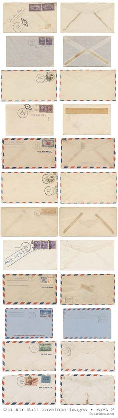 Old Air Mail Envelopes Part 2 - Free Hi-Res Images. Images are approximately 6000x3500 pixels each. Nice.