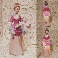 Vintage Sweetheart Lamp! Woman in pink dress.