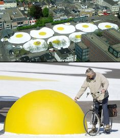 """Giant Fried Eggs  Several large eggs were spread in Leeuwarden, Netherlands by Henk Hofstra as a part of his environmental art project, titled """"Art Eggcident""""."""