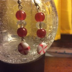Handmade Holiday glass beaded peppermint earrings* red and clear cystal dangle earrinsg by Createdtreasures23